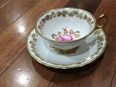 Vintage Royal Chelsea New Chelsea Porcelain Cup & Saucer Pink Rose / Flower Dec.