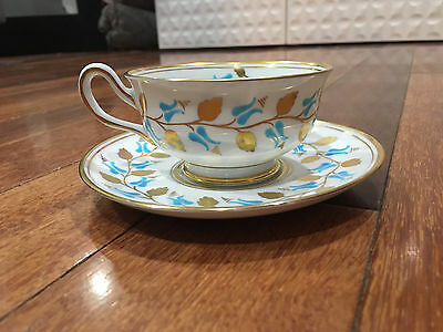 Vintage Royal Chelsea New Chelsea Porcelain Cup & Saucer Blue & Gold Flowers