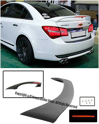 00 09 honda s2000 ap1 ap2 tm style matte black trunk spoiler frp abs plastic rear trunk spoiler w third brake light for 11 15 chevrolet cruze