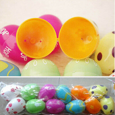 12PCS Plastic Easter Eggs Bright DIY Decoration Party Gift Colourful Hot