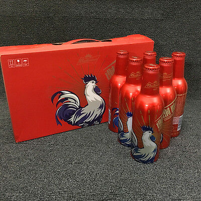 China Budweiser Beer 2017 New Year Rooster Aluminum Bottle Empty 355ml With Box