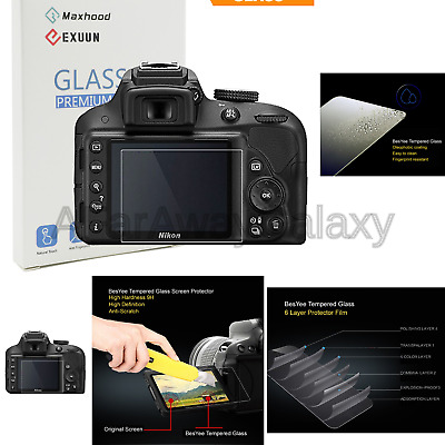 Nikon D3400 D3200 D3300 LCD Tempered Glass Screen Protector Exuun Optical 9H ...