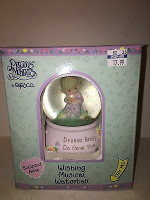 New 2000 Enesco Precious Moments Wishing Musical Waterball Sculpted Base 899011