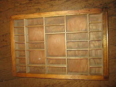 Vintage Antique Country Brown Wood Printers Type Tray Drawer Shadow Box