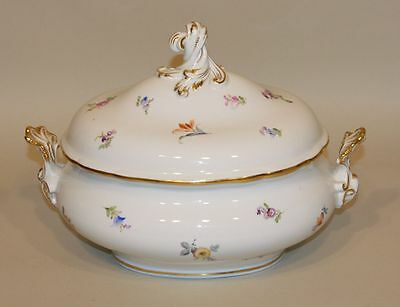 Meissen Scattered Flowers China Large 13 Inch Oval Footed Soup Tureen with Lid