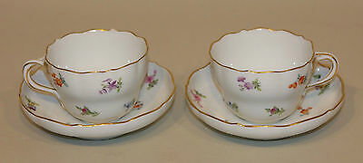 2 Meissen Scattered Flowers Flat Teacup Tea Cup and No Indent Saucer Sets AS IS