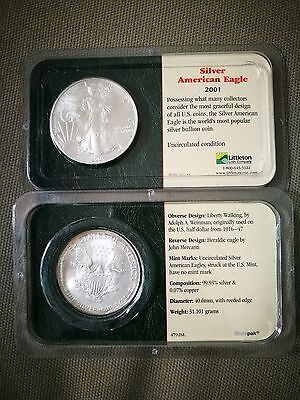 America Silver Round Eagle coin 2001 in collector case