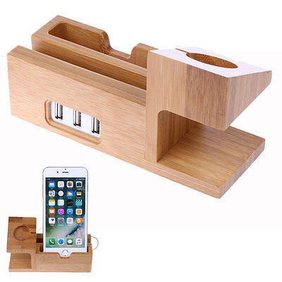 Wood Bamboo Charging Dock Charger Holder Station For Apple Watch& iPhone 6/6plus