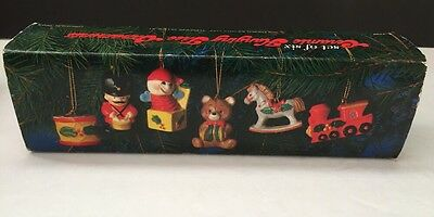 Vintage 1978 Enesco Ceramic Christmas Ornaments Soldier Train Bear #E-2199