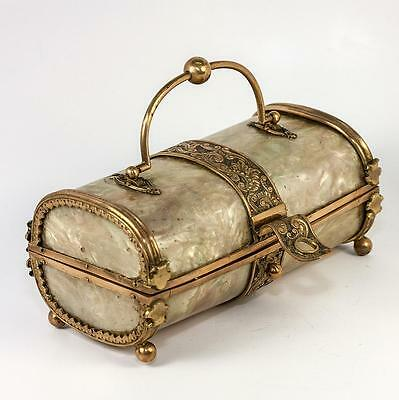 """Antique French 5.5"""" Faux Mother of Pearl Casein Confectioner's Box, Jewelry"""