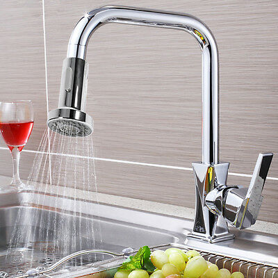 Water-saving Chrome Bathroom Kitchen Tap Pullout Spray Shower Head Faucet Sink