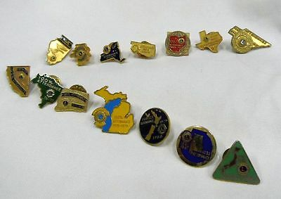 Lot Of 14 Vintage Lions Club State 100% Attendance Lapel Tie Pins Great Shape!