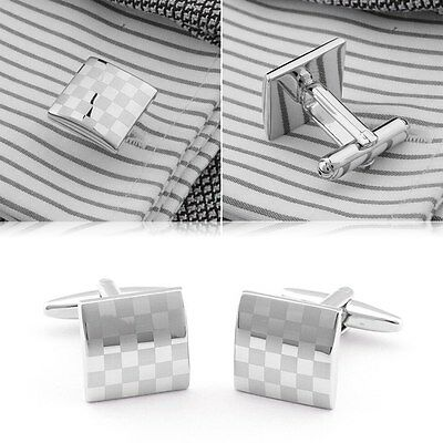 Fashion Men's Square Laser Cuff Links Wedding party Gift Cufflinks Silver Palted