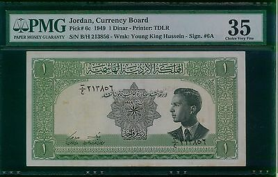 JORDAN. 1 Dinar, 1949. P-6c. PMG Choice Very Fine 35 Black serial numbers