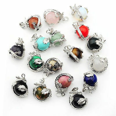 1PC Natural Crystal Hexagonal Gemstone Dragon Pendant Jewelry no Necklace Chain