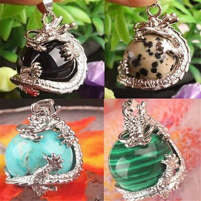 Nice Natural Crystal Hexagonal Gemstone Dragon Pendant Jewelry NO Necklace Chain
