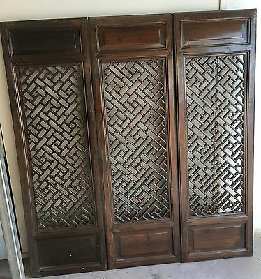 Antique Chinese Elm Screens set of three/wall art/bedheads/