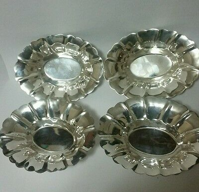 4 Vintage Lipman Brothers Sterling Silver Nut / Candy dishes 4 1/2 inches 128 G.