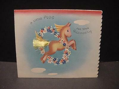 Vintage 1930s-40s GET WELL Folder Card: Fantasy Flying HORSE w/Applied Tail