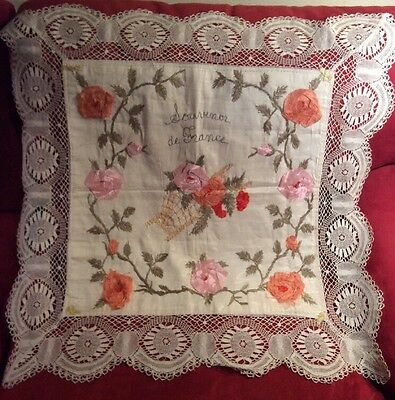 Stunning WWI Era Handmade Lace & Ivory Silk Souvenir De France Pillow Case Roses