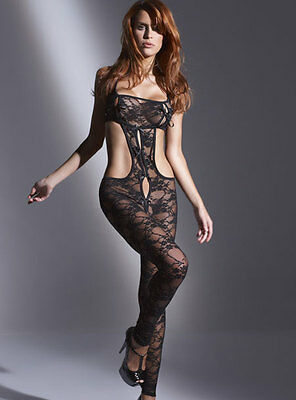 New Ladies Womens Ann Summers Angela Black Lacy Crutchless Bodystocking One Size