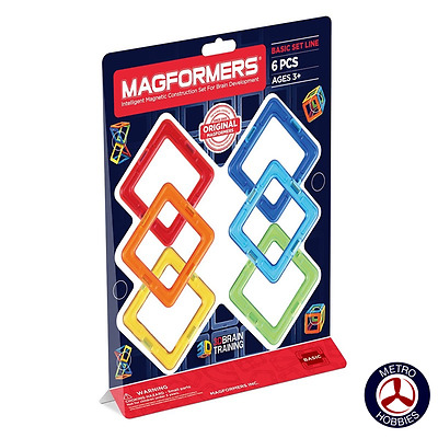 Magformers Squares 6pce Set 701001 Brand New
