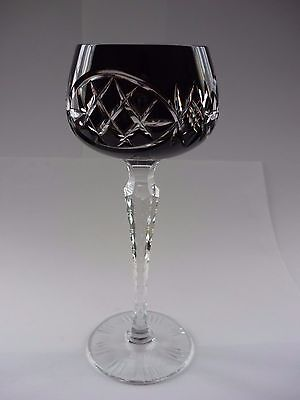 Vintage Bohemian Burgundy  Hock Glass, Cut To Clear,   Perfect Condition