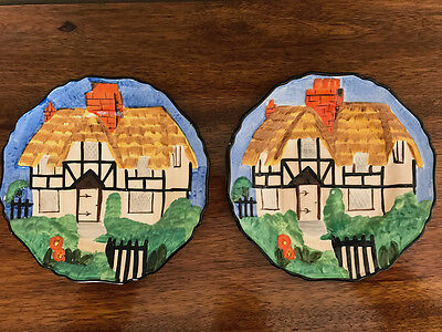 Two Vintage Hancock's Ivory Ware Hand Painted Plates Cottage Art Deco 1930s