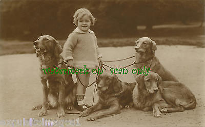 Antique Photo~Cute Girl with Four Golden Retriever Dogs~ NEW Large Note Cards