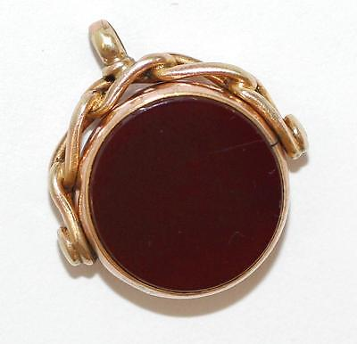 Antique Victorian 9k Gold Moving Spinner Carnelian Fob Pendant Charm circa 1880