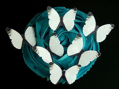 30 Pre-Cut Black & White Butterflies Edible Rice Wafer Paper Cup Cake Toppers