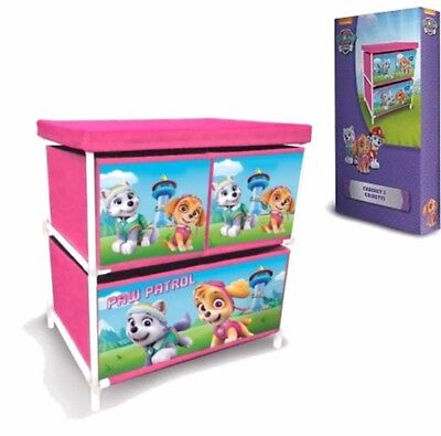 Paw Patrol Children Kids Drawer Books Toys Storage Box (Pink)