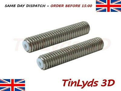2 x m6x30mm ptfe lined hotend throat , extruder 1.75mm pla , 3D printer part