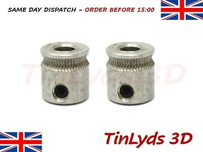 2 x mk8 Extruder hobbed Drive Gear Pulley 5mm 3D Printer part