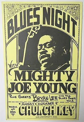 original MIGHTY JOE YOUNG Church Key Madison, WI concert poster 1975