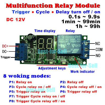 DC 12V LED Display Cycle Delay Time Timing Timer Relay Switch Turn ON/OFF Module