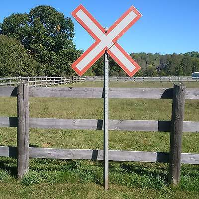 Authentic Railroad Level Grade Crossing Sign With Post - Railway Crossbuck