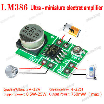 DC 3V~12V 5V 6V LM386 Mini Micro Audio Power Amplifier Board AMP Module 750mW