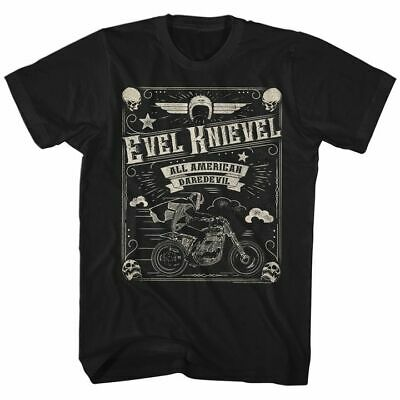 EVEL KNIEVEL Men's Short Sleeve T-Shirt BLACK SKULLD BORDER