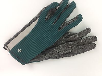 Lululemon Run With Me Gloves Reflective M/L Deep Fuel Heathered Black NEW