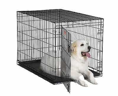 MidWest iCrate Folding Metal Dog Crate Single Door 48-Inch w/Divider