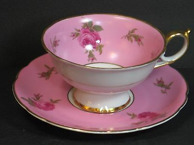 Royal Bayreuth, Germany Tea Cup & Saucer Set, Pink Roses on Pastel Pink, Gold!