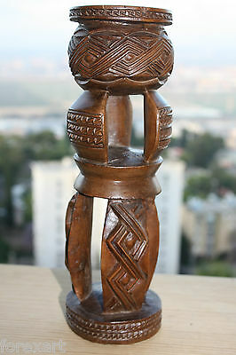 "Exceptional Kuba Statue Sculpture African Tribal Wooden Art 11"" Collectible RARE"