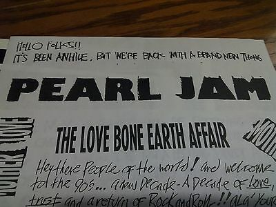 Mother Love Bone Early Letter to Fanclub Album Info Reprint Pearl Jam Fanzine
