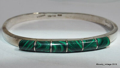 Vintage Mexico Sterling Silver & Malachite Hinged Bangle Bracelet signed TI-48