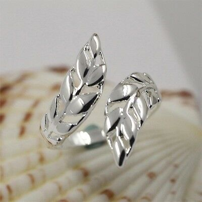 Sterling Silver 925 Plated Lucky Twist Leaf Toe/Finger/Midi Ring R40 Wrap