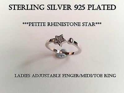 Sterling Silver 925 Plated Rhinestone Star Finger Midi Toe Ring R30