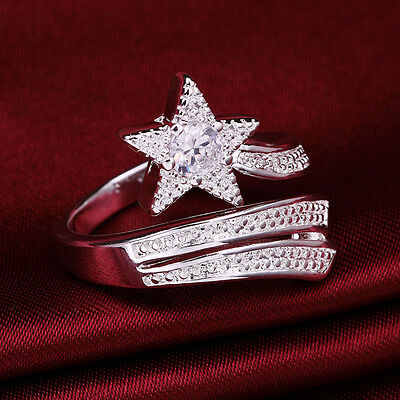 925 Sterling Silver Plated Large Crystal Star Thumb/Finger/Midi Rings R27
