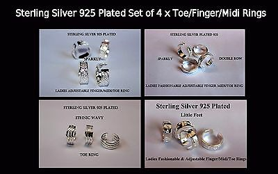 Sterling Silver 925 Plated 4 x Toe/Finger/Midi Rings + 4 Gift Bags