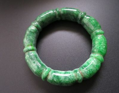 Old Chinese Natural green Jadeite carved myanmar jade bangle Bracelet 58MM